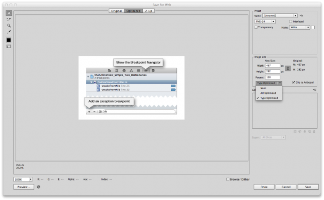 "Anti aliasing Illustrator features in ""save for web"" dialog options"