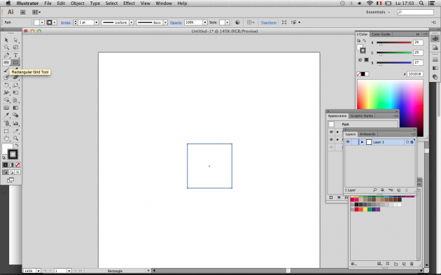 Start: make a 100px rectangle