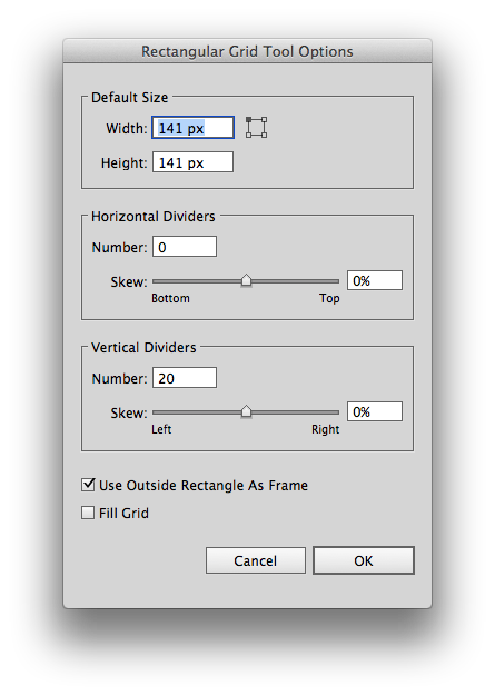 Rectangular grid options in Illustrator; 141 px was chosen to account for the diagonal of the enclosing rectangle.