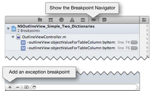 Add an exception breakpoint in XCode 4