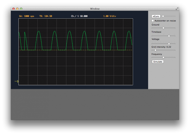 MacScope project. Half sine wave s received from a simple DSP done on Arduino. The half–wave is a consequence of using unsigned variables.