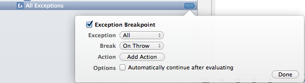 XCode 4 Exception Breakpoint — options