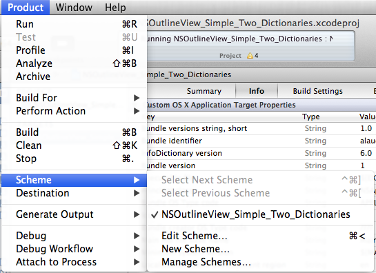 Chasing zombies in XCode 4 - edit scheme from menu