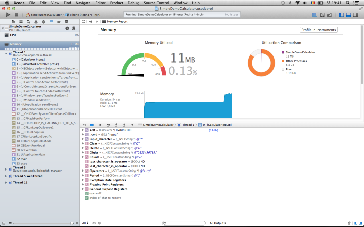 Memory Gauge, XCode 5.0 preview edition