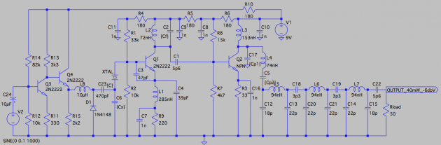 Prototype revision 3.0; this version includes a preamp to boost modulation and a simple modulation mechanism for the 144.0 MHz carrier. Note the output bandpass filter.