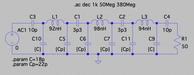 LTSPice IV 7-pole filter schematic. Standalone. Note the value and the label of the voltage source. Also note the way SPICE directives are added to the schematic. Each dot statement can be commented out using an asterisk.